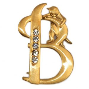 Brooch Plated Initial 'b' With A Climbing Cat Made With Pewter & Crystal Glass by JOE COOL