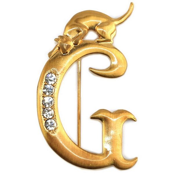 Brooch Initial 'g' Cat/stones Made With Pewter & Gold Plated by JOE COOL