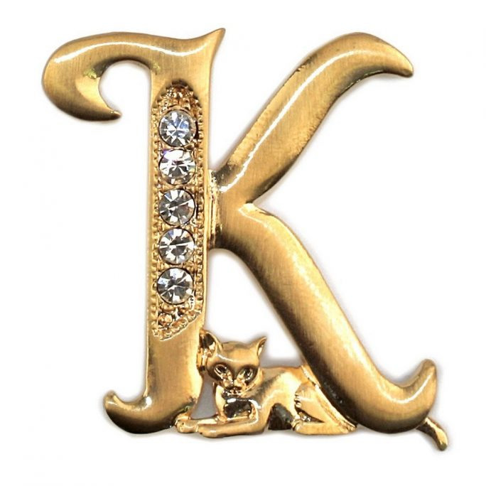 Brooch Initial 'k' Cat/stones Made With Pewter & Gold Plated by JOE COOL