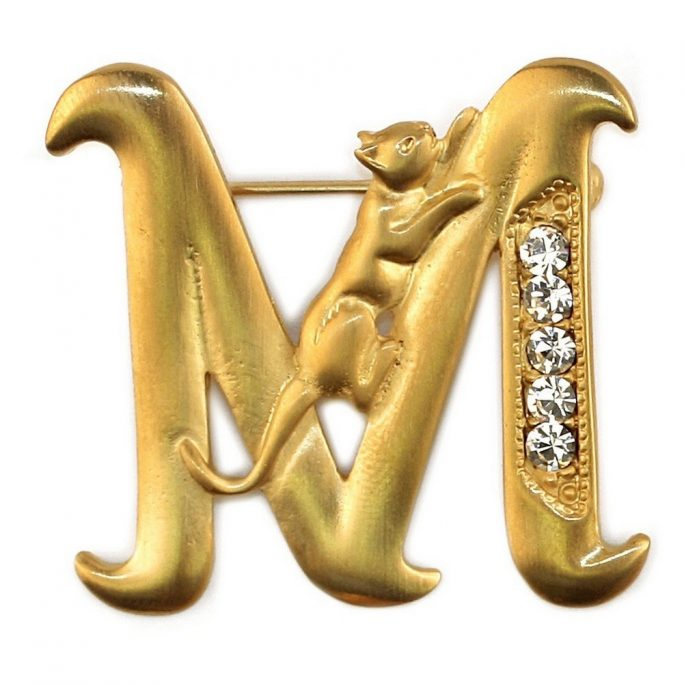 Brooch Initial 'm' Cat/stones Made With Pewter & Gold Plated by JOE COOL