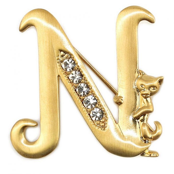 Brooch Initial 'n' Cat/stones Made With Pewter & Gold Plated by JOE COOL