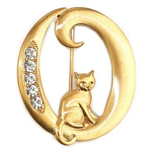 Brooch Initial 'o' Cat/stones Made With Pewter & Gold Plated by JOE COOL
