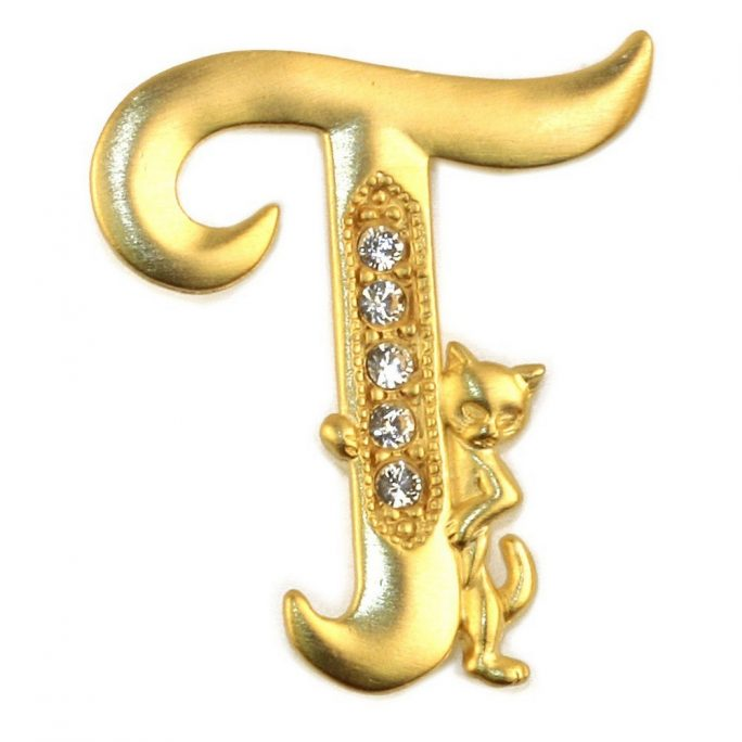 Brooch Initial 't' Cat/stones Made With Pewter & Gold Plated by JOE COOL