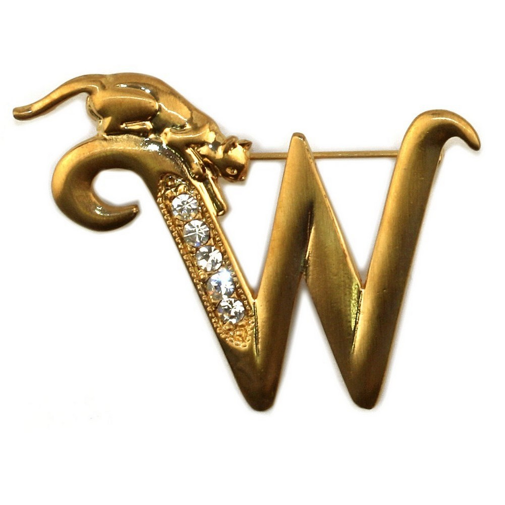 Brooch Initial 'w' Cat/stones Made With Pewter & Gold Plated by JOE COOL