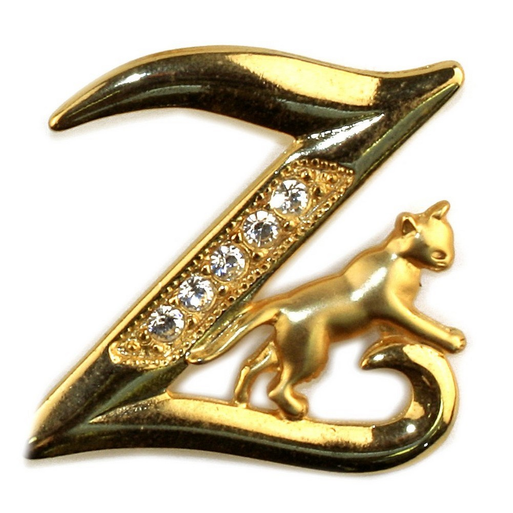 Brooch Initial 'z' Cat/stones Made With Pewter & Gold Plated by JOE COOL