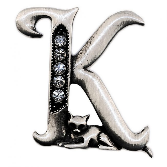 Brooch Initial 'k' Cat/stones Made With Pewter by JOE COOL