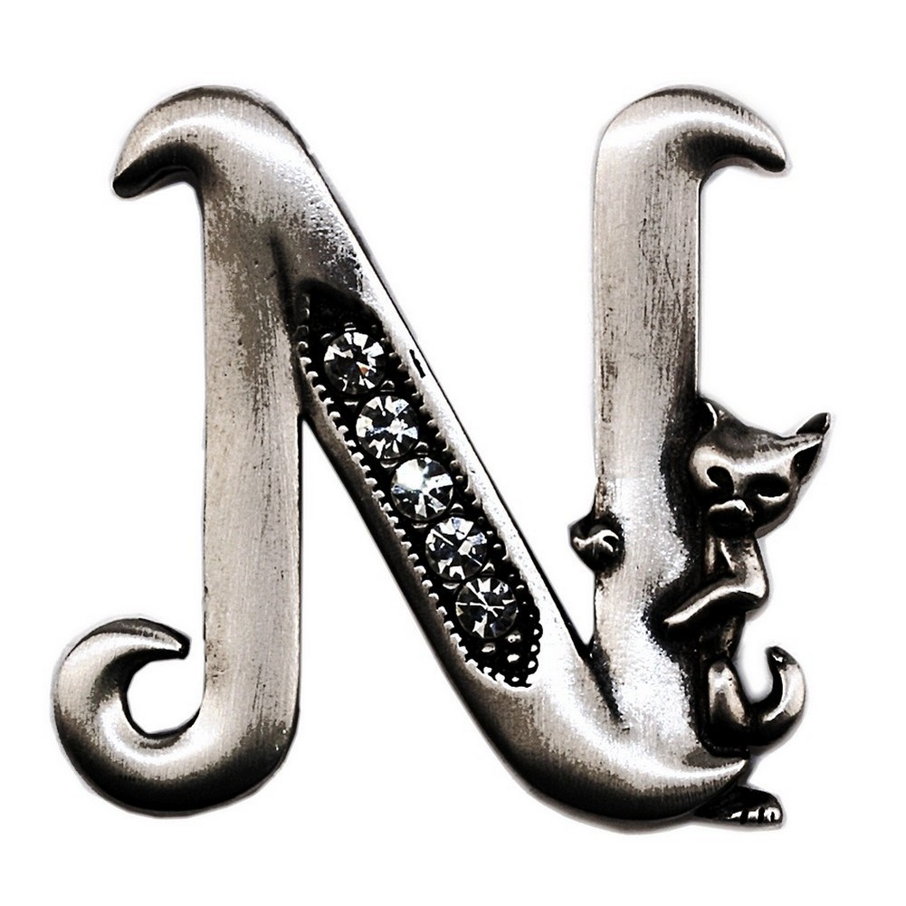 Brooch Initial 'n' Cat/stones Made With Pewter by JOE COOL