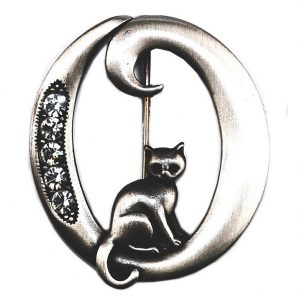 Brooch Initial 'o' Cat/stones Made With Pewter by JOE COOL
