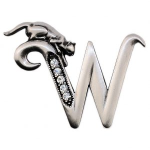 Brooch Initial 'w' Cat/stones Made With Pewter by JOE COOL