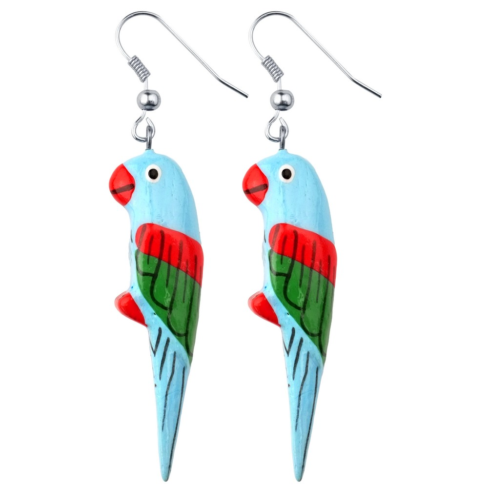 Drop Earring Hand Carved & Painted Light Blue Parrot Made With Wood by JOE COOL