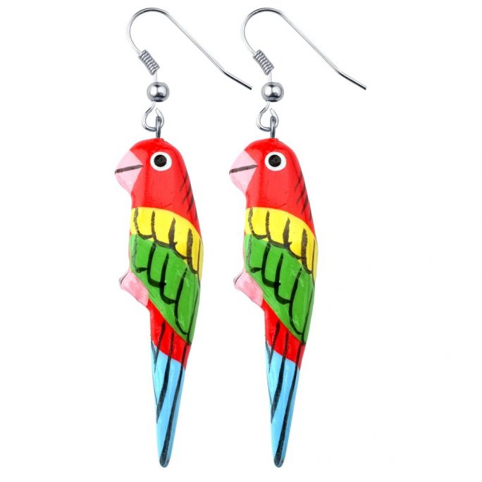 Drop Earring Hand Carved & Painted Parrot Made With Wood by JOE COOL