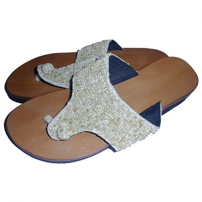 Shoes Sandal Flip-flop Knot Beaded Made With Leather by JOE COOL