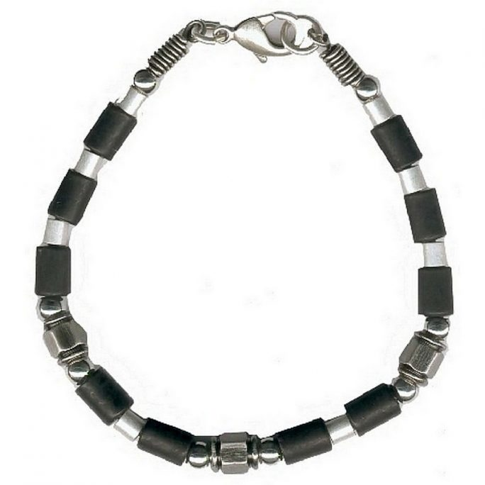 Bracelet Silver & Black Tube Beads by JOE COOL
