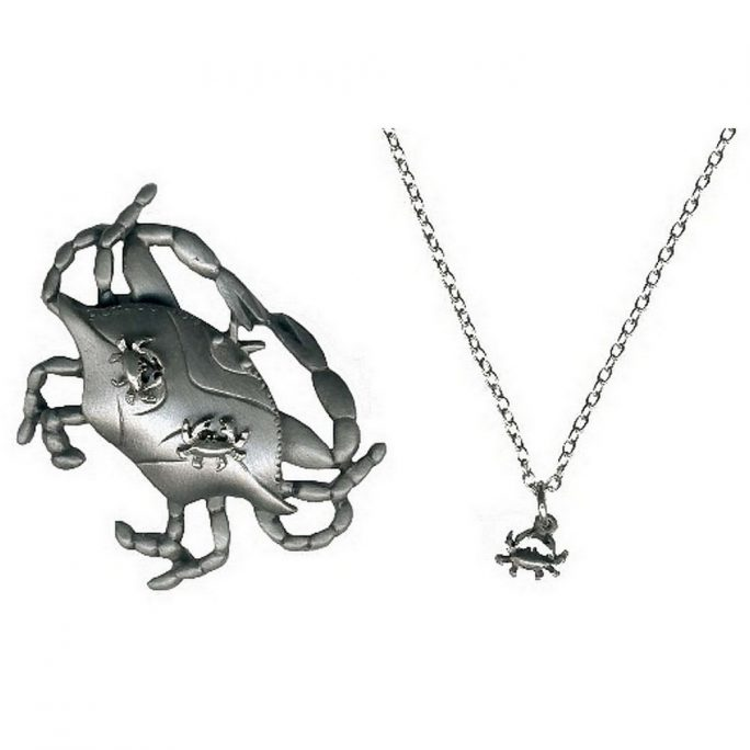 Necklace With A Pendant Crab Made With Pewter by JOE COOL
