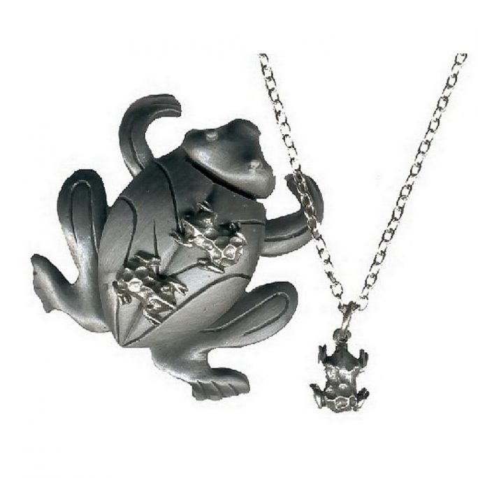 Necklace With A Pendant Frog Made With Pewter by JOE COOL