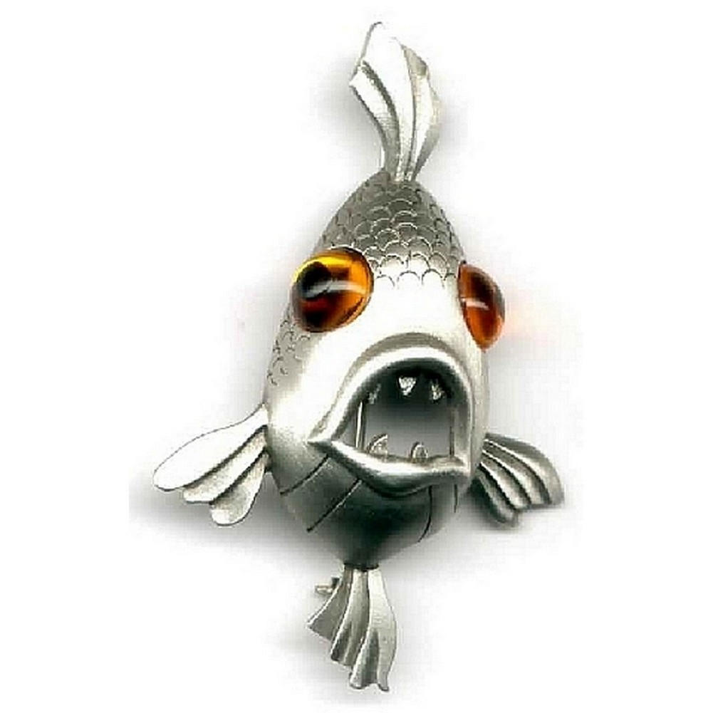 Clutch Pin Brooch Fish With Stone Eyes Made With Pewter by JOE COOL