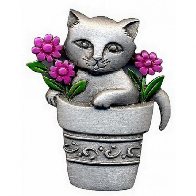 Brooch Cat In Flower Pot With Colour by JOE COOL