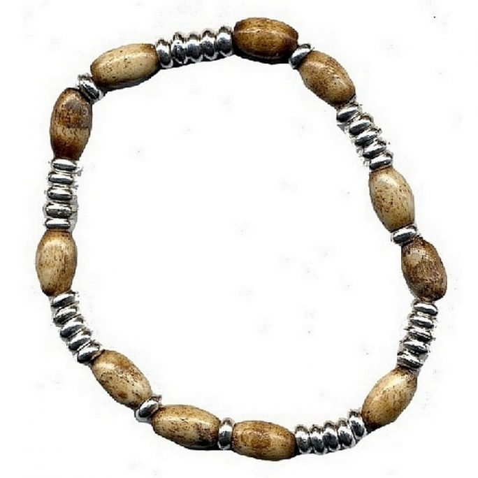 Bracelet Natural Oval Silver Disc Made With Bone by JOE COOL