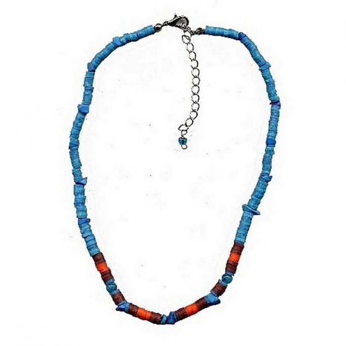 Necklace Turq Chips & Round Beads Made With Resin by JOE COOL