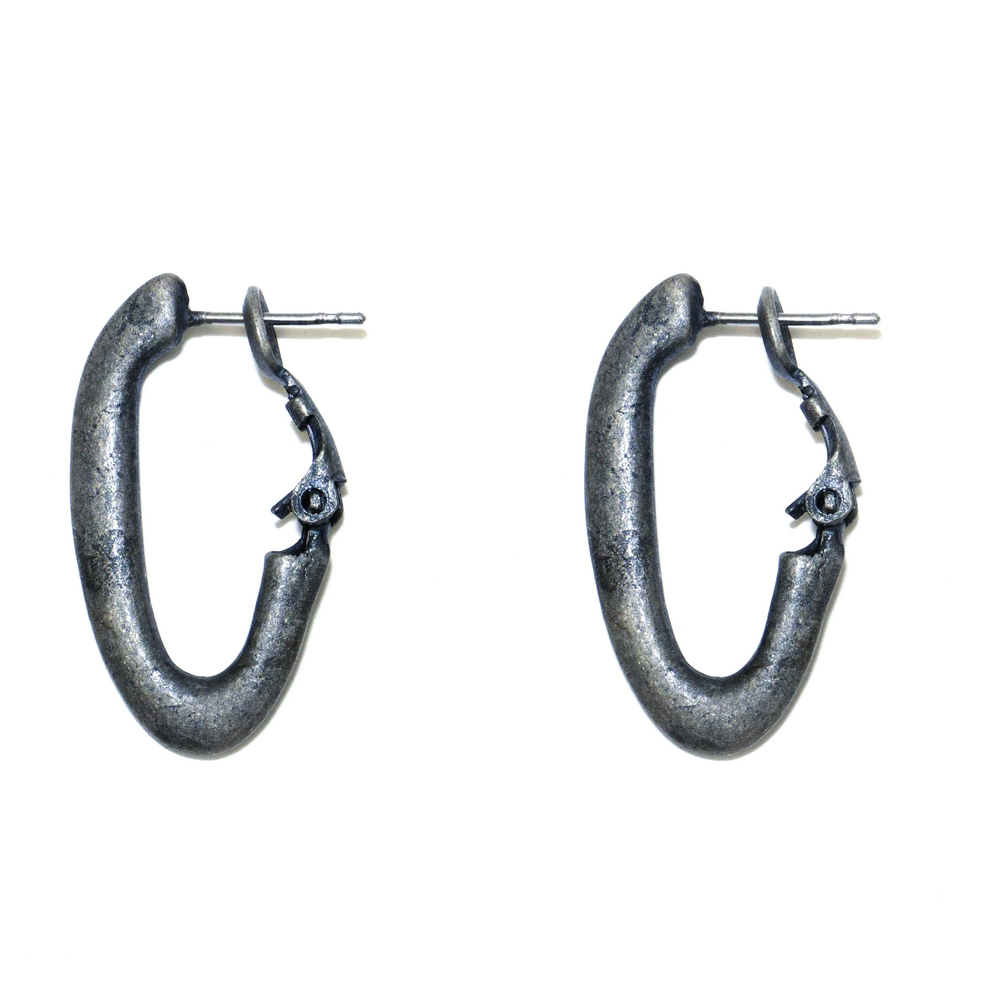 Hoop Earring Half Oval Made With Pewter by JOE COOL
