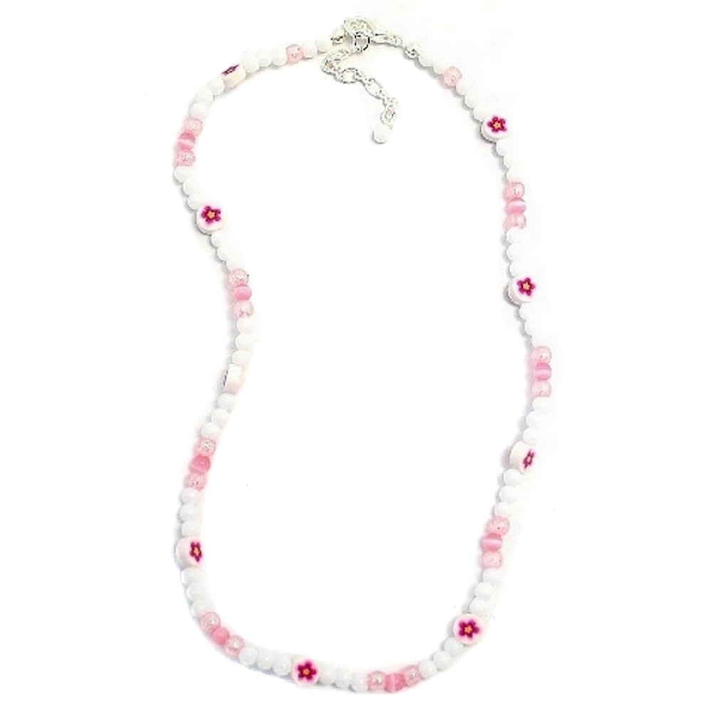 Necklace White& Pink Flower Glitter Beads Made With Resin by JOE COOL