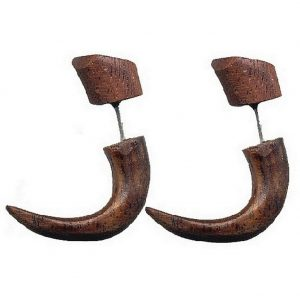 Front & Back Earring Curved Fangs / Hooks Made With Wood by JOE COOL