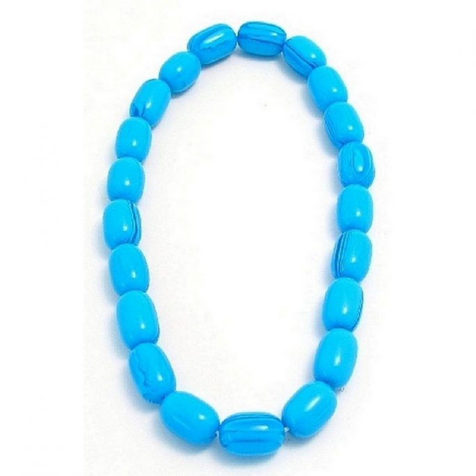 Necklace 25/17 Oval Blue Marble Bead Made With Resin & Elastic by JOE COOL