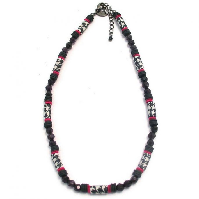 Bead String Necklace Houndstooth Faceted & Heishi Made With Resin by JOE COOL