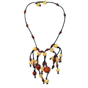 Necklace Bead With Skulls 100cm Made With Bone & Wood by JOE COOL