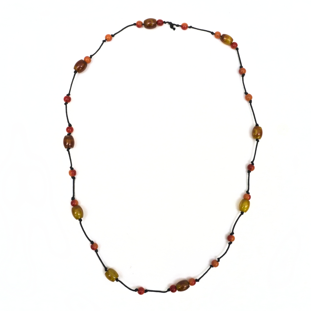 Necklace Amber Beads Hemp String Made With Stone by JOE COOL