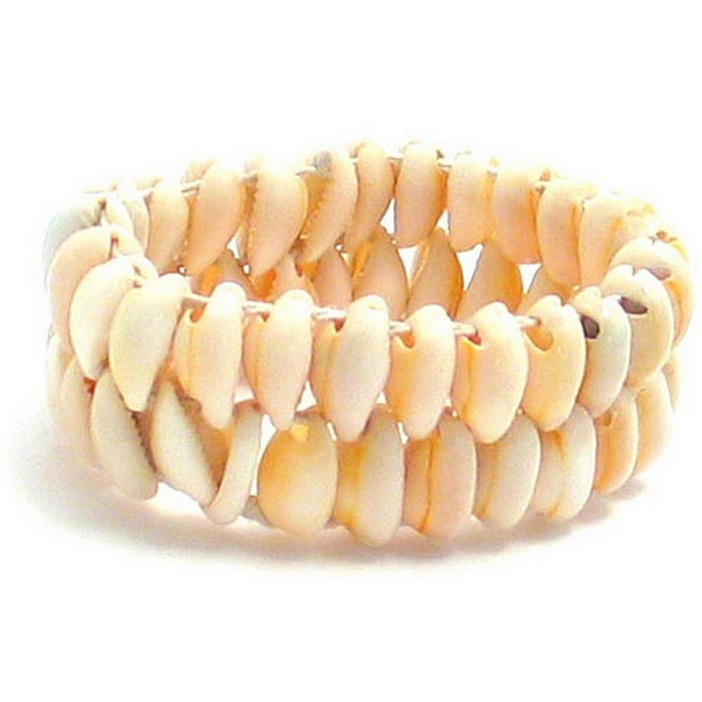Bracelet 2 Row Stretch Made With Shell by JOE COOL