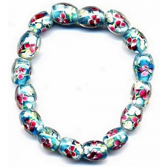 Bracelet Flower Turq Oval Made With Glass by JOE COOL