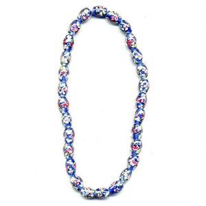 Necklace Flower Dark Blue Oval Made With Glass by JOE COOL