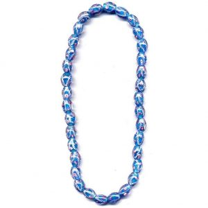 Necklace Flower Blue Stripe Oval Made With Glass by JOE COOL