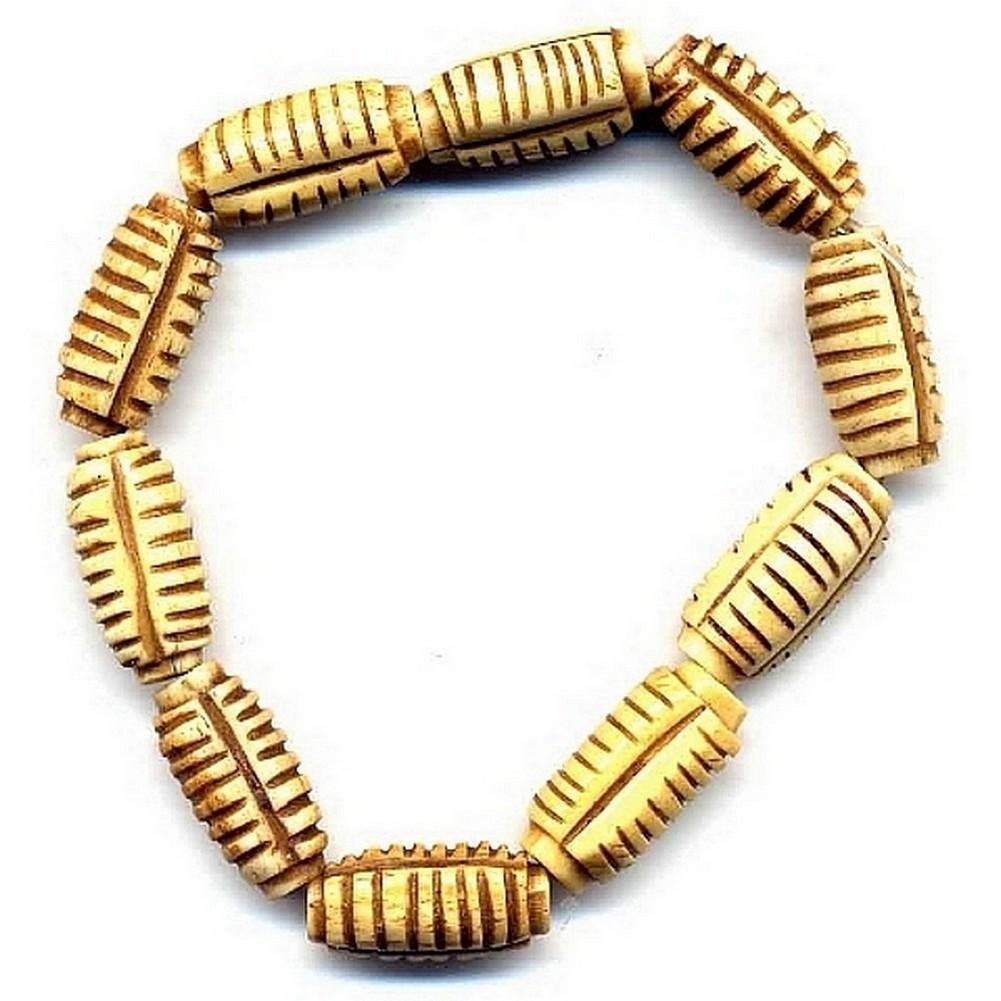 Bracelet Hand Carved Stripe Barrel Made With Bone by JOE COOL