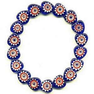 Bracelet Millefiori Blue/red Heart Shape Made With Glass by JOE COOL
