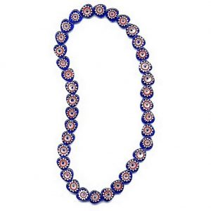 Bead String Necklace Millefiori Blue/red Heart Shape Made With Glass by JOE COOL