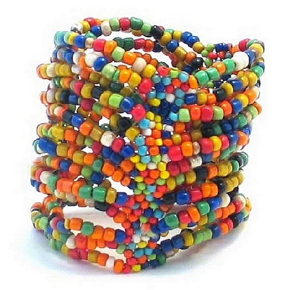 Bracelet 14 Strand Stretch Multi Coloured Made With Glass by JOE COOL