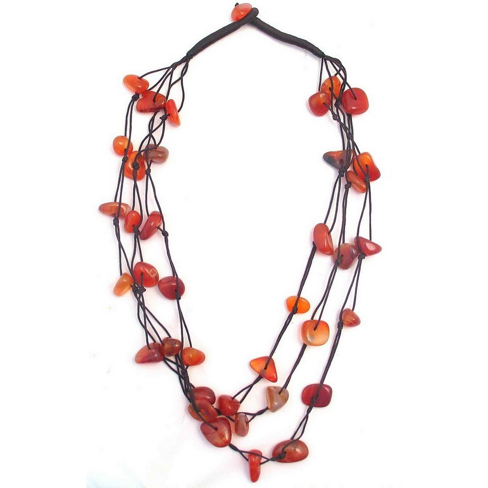 Bead String Necklace Nugget 3 Strand Red Brown Made With Gem Stone by JOE COOL