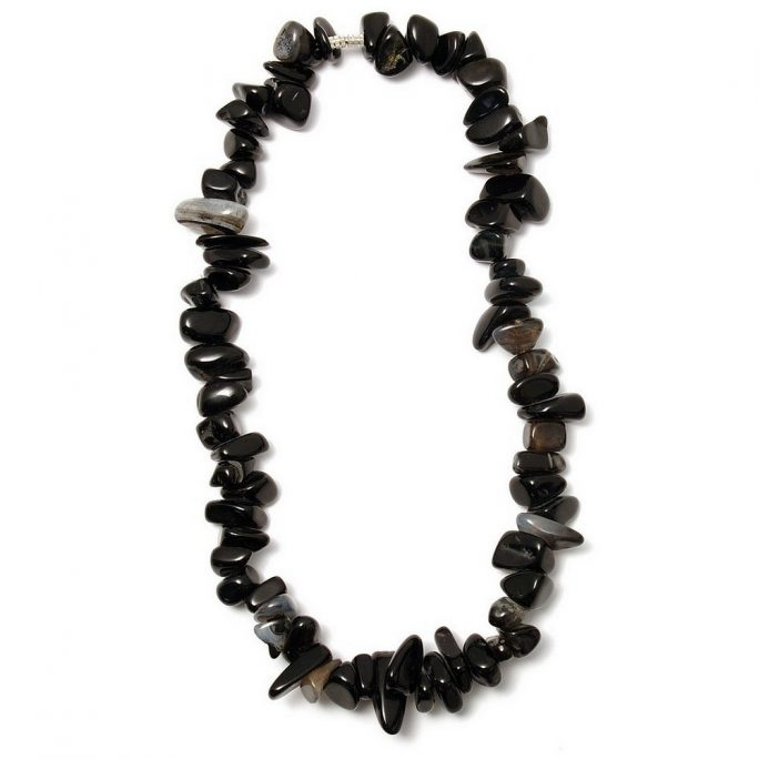 Necklace Nugget - Black 46cm Made With Gem Stone by JOE COOL