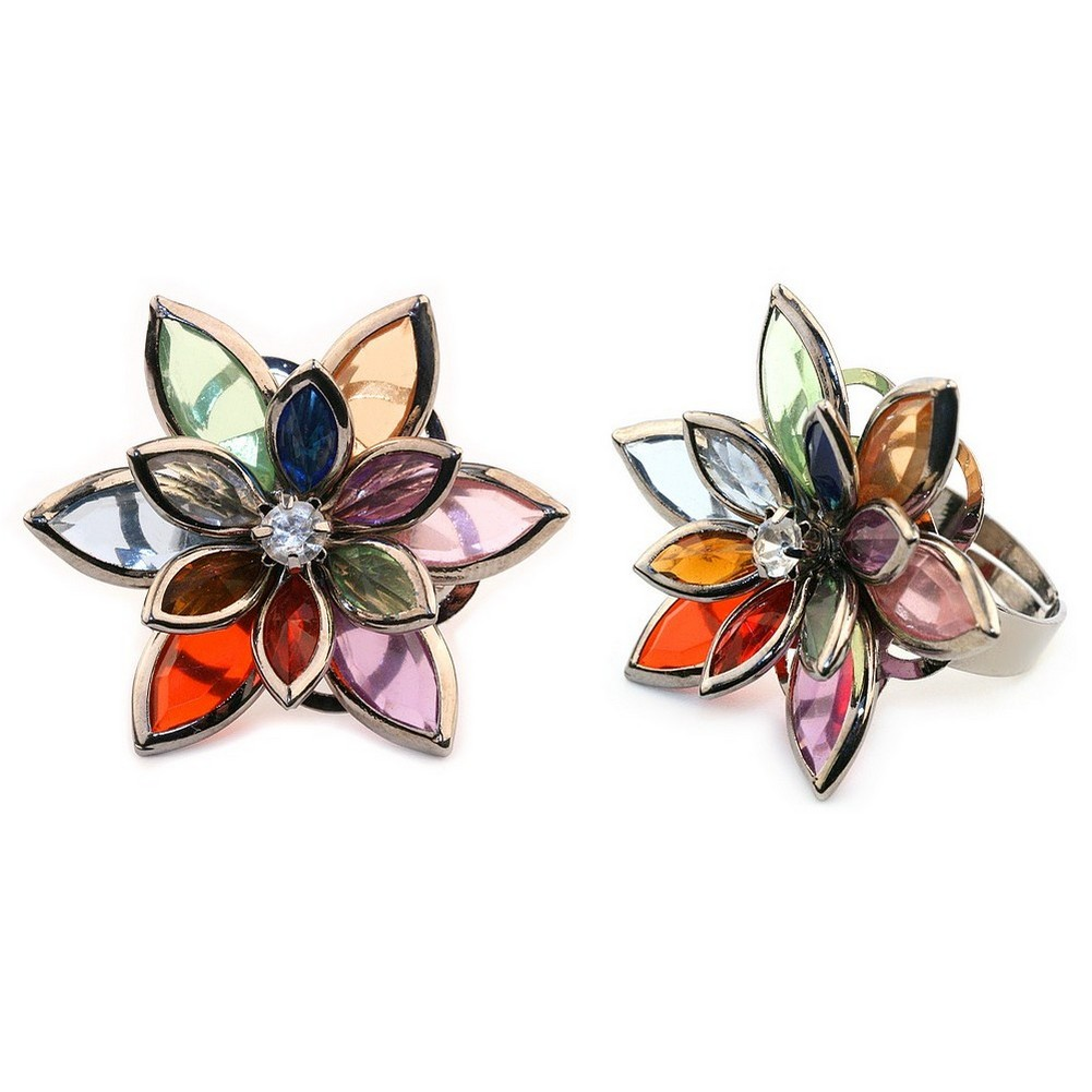 Ring Flower Jewelled Made With Crystal Glass by JOE COOL