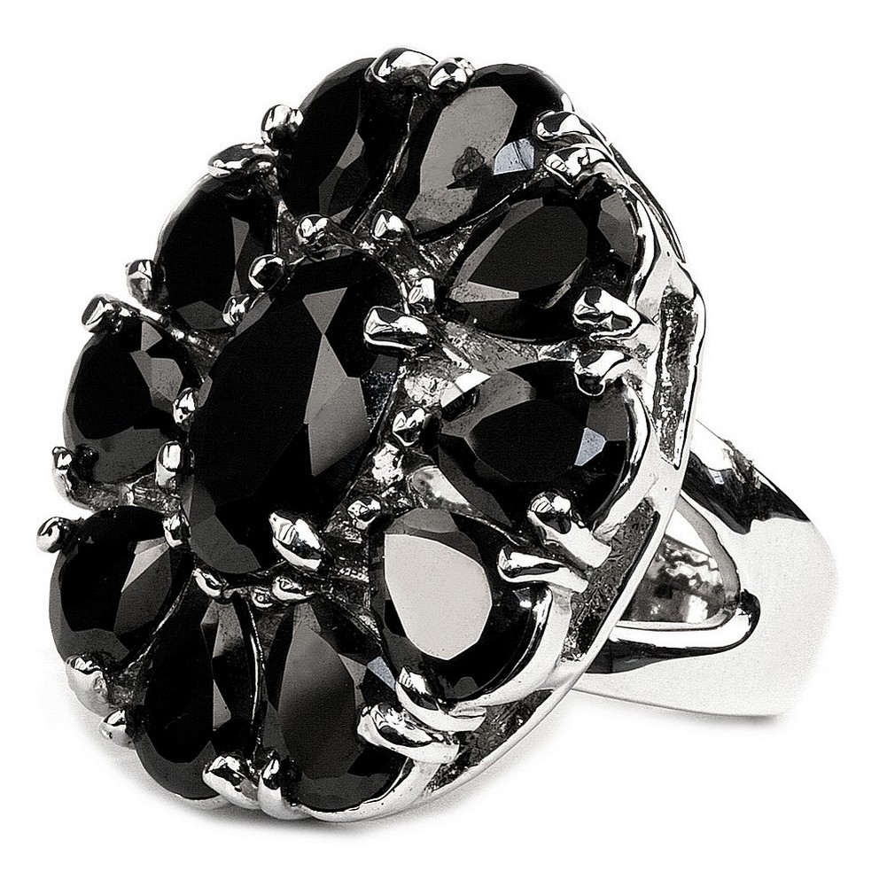 Ring Tear Cluster Black Made With Glass & Crystal Glass by JOE COOL