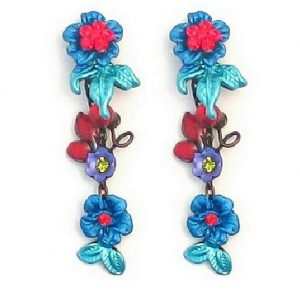 Drop Earring Flower (red Crystals) Made With Enamel & Crystal Glass by JOE COOL