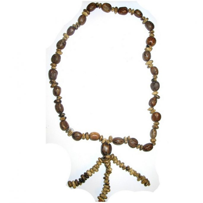 Necklace Chunky Tassel Mottle Made With Seed by JOE COOL