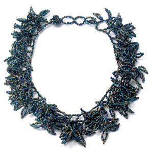 Necklace Glamour Leaf Effect Made With Glass by JOE COOL