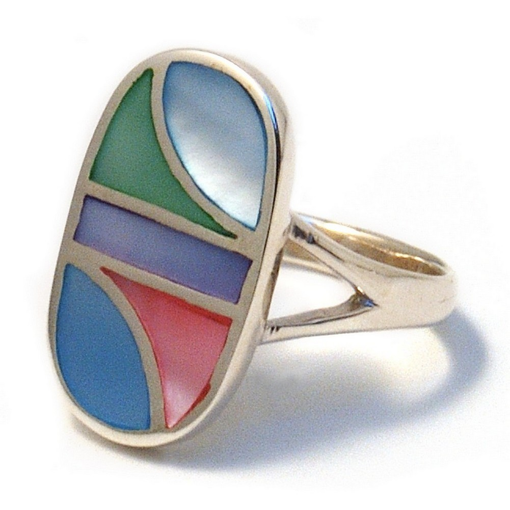 Ring Multi Col Oval Made With 925 Silver & Shell by JOE COOL