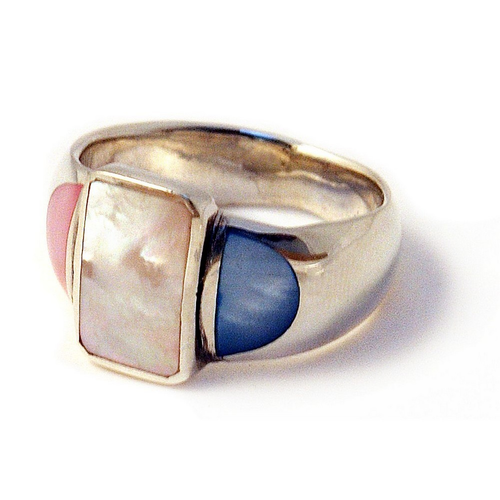 Ring Multi Rectangular Front Made With 925 Silver & Shell by JOE COOL