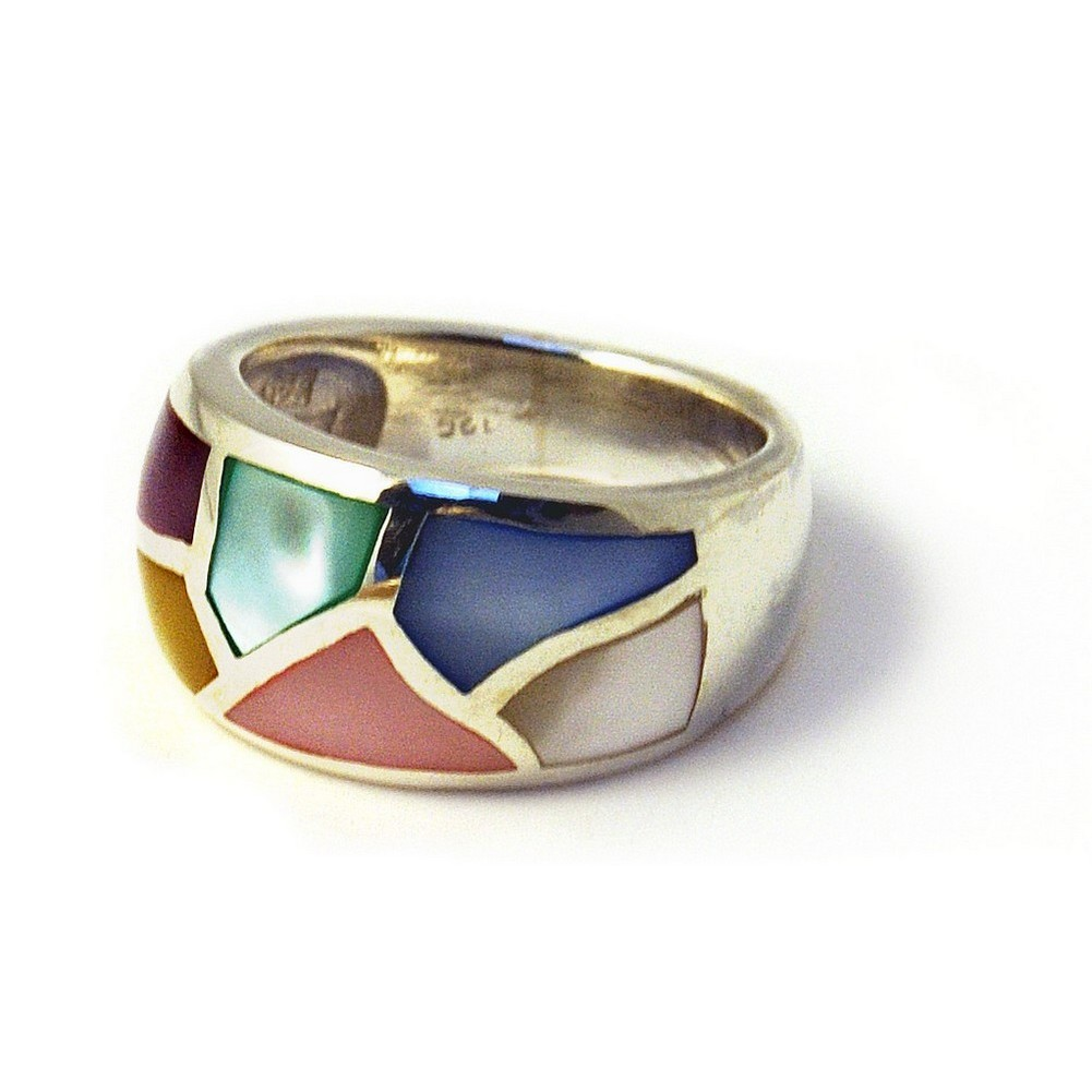 Ring Multi 2 Row Chips Made With 925 Silver & Shell by JOE COOL