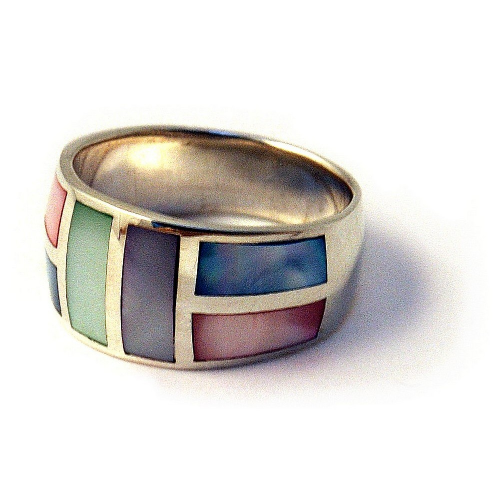 Ring Multi 6 Rectangle Front Made With 925 Silver & Shell by JOE COOL