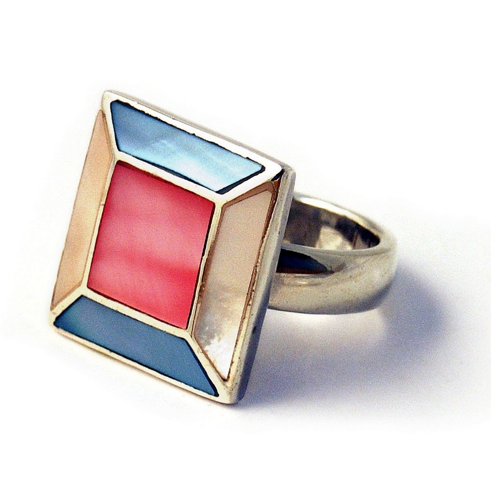 Ring Multi Square Front Made With 925 Silver & Shell by JOE COOL